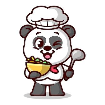 Netter panda-koch serviert essen und bringt einen suppenlöffel cartoon-maskottchen