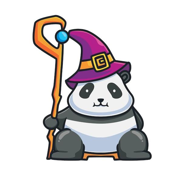 Netter panda-könig-zauberer, der stockmagie hält. cartoon-tier-halloween-event-konzept isolierte abbildung. flacher stil geeignet für sticker icon design premium logo vektor. maskottchen-charakter