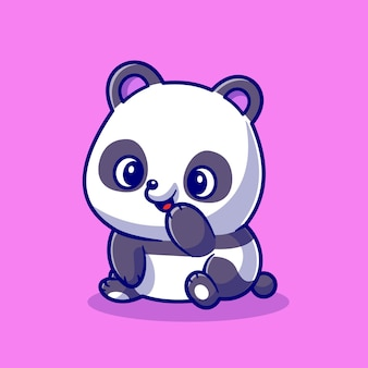 Netter panda lächelnde cartoon-vektor-symbol-illustration. tier natur symbol konzept isoliert premium-vektor. flacher cartoon-stil