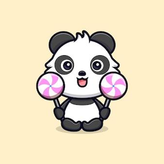 Netter panda-liebeslutscher. tierkarikatur-maskottchen-vektorillustration