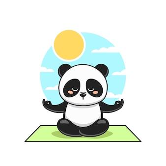 Netter panda meditieren mit himmelhintergrund