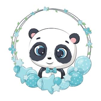 Netter panda mit ballon und kranz. illustration für babyparty.