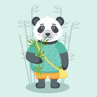 Netter panda mit bambus, vektorillustration