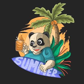 Netter panda mit einem surfbrett und einem bier an der strandillustration auf schwarzem hintergrund