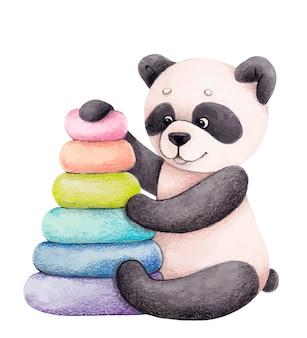 Netter panda mit einer spielzeugpyramide. kinderillustration