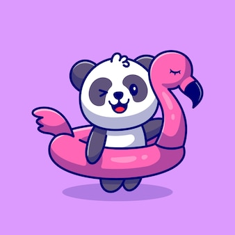 Netter panda mit flamingo-reifen-karikatur-symbol-illustration. animal holiday icon concept premium. flacher cartoon-stil