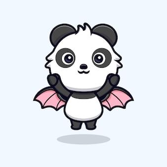 Netter panda mit flügeln fliegt in den himmel. tierkarikatur-maskottchen-vektorillustration