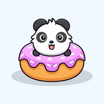 Netter panda mit großen donuts. tierkarikatur-maskottchen-vektorillustration