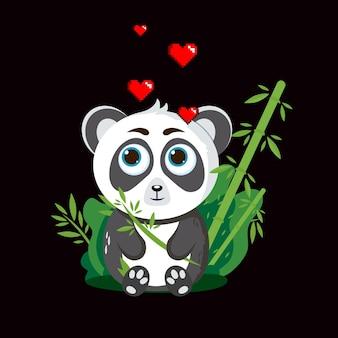 Netter panda mit herzen, der mit bambus sitzt vektorillustration des lokalisierten weißen hintergrundes