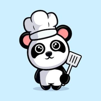 Netter panda mit karikaturmaskottchen der kochmütze