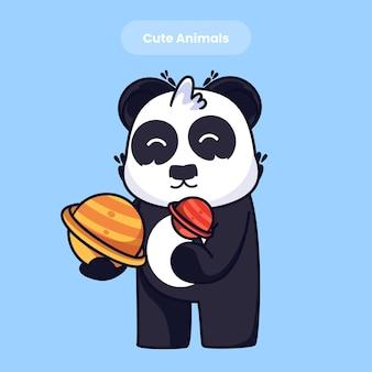 Netter panda mit mon karikaturvektorikonenillustration