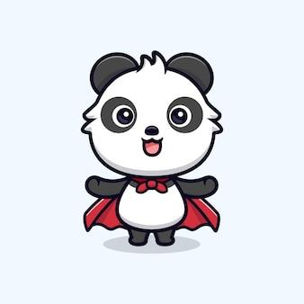 Netter panda mit robe. tierkarikatur-maskottchen-vektorillustration