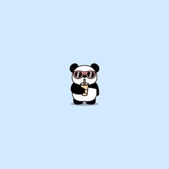 Netter panda mit sonnenbrillentrinkwasserkarikatur