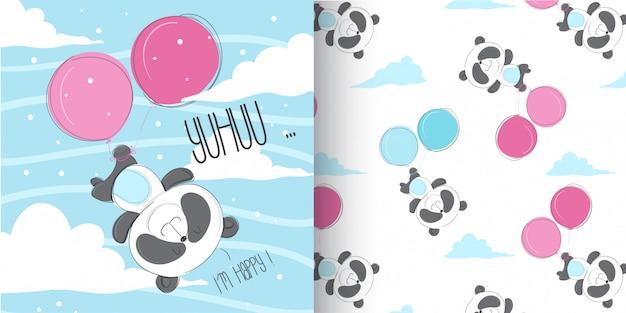 Netter panda pattern-satz, illustrationsvektor des handabgehobenen betrages