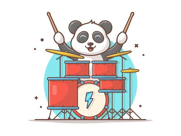 Netter panda playing drum mit stock-musik-vektor-ikonen-illustration. netter schlagzeuger des baby-panda-maskottchens. tier-und musik-ikonen-konzept-weiß lokalisiert