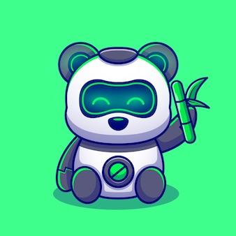 Netter panda-roboter, der bambuszeichentrickfilm-figur hält. tiertechnologie isoliert.