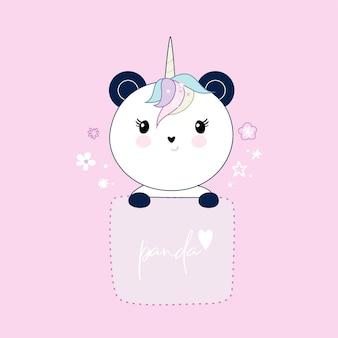 Netter panda sitzt in der tasche, herzen und blumen