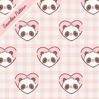 Netter panda trägt nahtlose muster eingestellten premium-vektor
