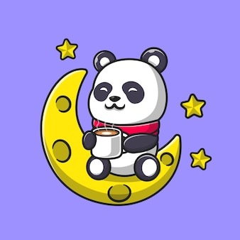 Netter panda trinken kaffee auf mondkarikatur. flacher cartoon-stil