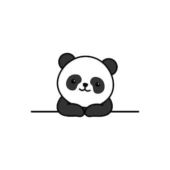 Netter panda über wandkarikatur
