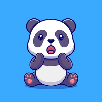 Netter panda überrascht cartoon-vektor-symbol-illustration. tier natur symbol konzept isoliert premium-vektor. flacher cartoon-stil
