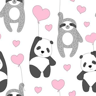 Netter panda und faultier fliegen auf ballons.