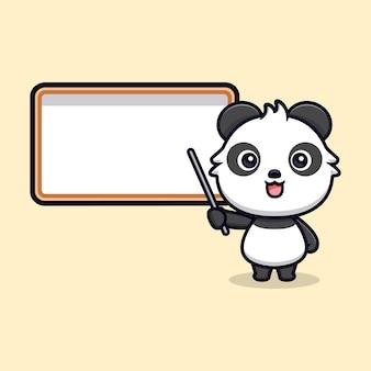 Netter panda-unterricht. tierkarikatur-maskottchen-vektorillustration