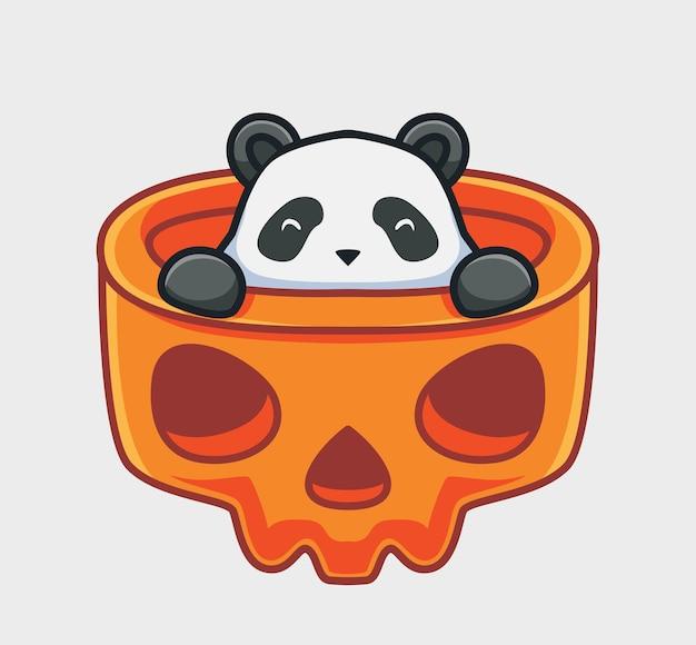 Netter panda versteckt sich im riesigen schädelkarikaturtier halloween-ereigniskonzept isolierte illustration