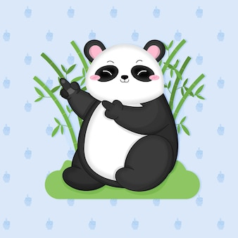 Netter pandabär zeigt fick dich symbol