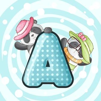 Netter pandatierbuchstabe-alphabetvektor