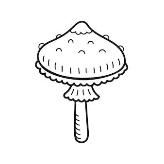 Netter pilz im doodle-stil. giftpilz, fliegenpilz, fliegenpilz. vektor isolierte handgezeichnete illustration für malvorlagen, skizze, umriss