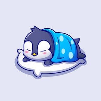 Netter pinguin, der auf kissen mit decke cartoon icon illustration schläft. animal sleep icon konzept premium. cartoon-stil