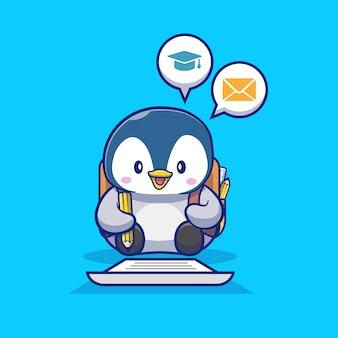 Netter pinguin, der auf papier mit bleistiftkarikatur-symbolillustration schreibt. tier- und bildungsikonenkonzept isoliert. flacher cartoon-stil