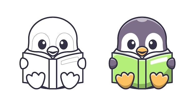 Netter pinguin, der ein buch-cartoon-malvorlagen für kinder liest