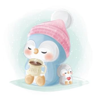 Netter pinguin, der eine schale heiße schokolade isst