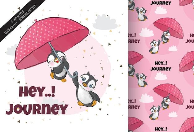 Netter pinguin, der mit regenschirmillustration fliegt illustration des hintergrundes