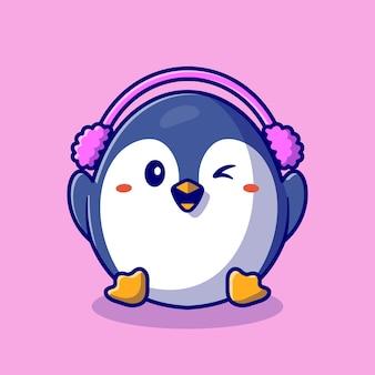 Netter pinguin, der ohrenschützer-karikaturillustration trägt