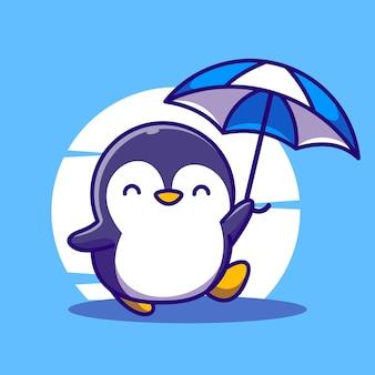 Netter pinguin, der regenschirmkarikatur-maskottchen-illustrationsvektorikone hält
