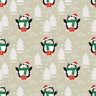 Netter pinguin im nahtlosen muster der weihnachtsjahreszeit