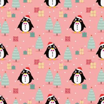 Netter pinguin im nahtlosen muster des weihnachtsfeierthemas