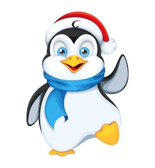 Netter pinguin in der weihnachtsmütze frohe weihnachten und ein gutes neues jahr