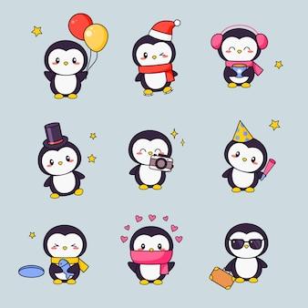 Netter pinguin kawaii clipart aufkleber set. weißer schwarzer vogel mit anime-gesicht verschiedene emoji-entwurf für gekritzel. verschiedene comic animal gift icon kit für kinder.