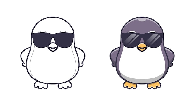 Netter pinguin mit brille cartoon malvorlagen für kinder