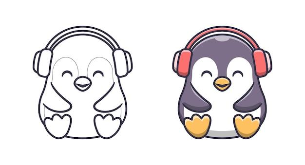 Netter pinguin mit headset-cartoon-malvorlagen für kinder