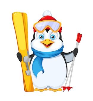 Netter pinguin mit skiern. frohe weihnachten und ein glückliches neues jahr