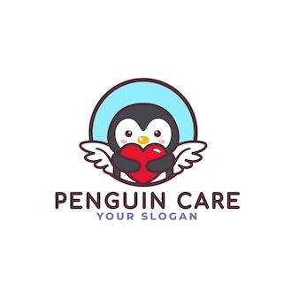 Netter pinguin-vogel, der herz-pflege-logo umarmt