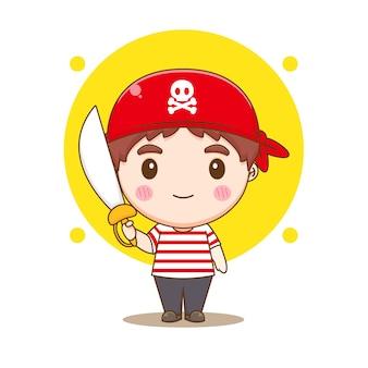 Netter pirat, der schwert-chibi-charakterillustration hält