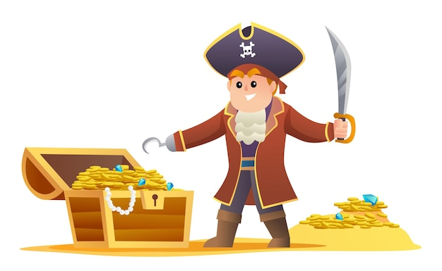 Netter pirat, der schwert mit schatzillustration hält