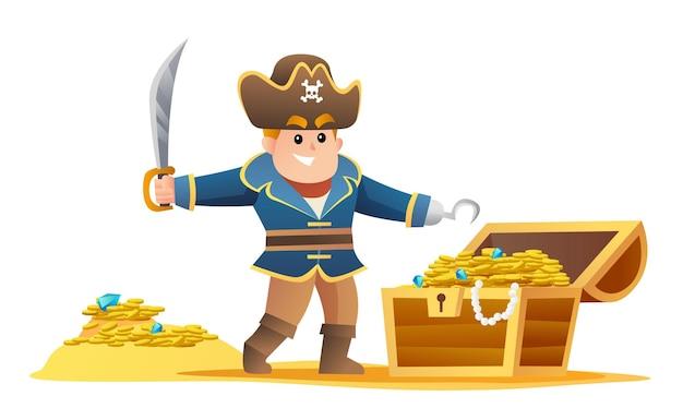 Netter pirat, der schwert mit schatzkarikatur hält
