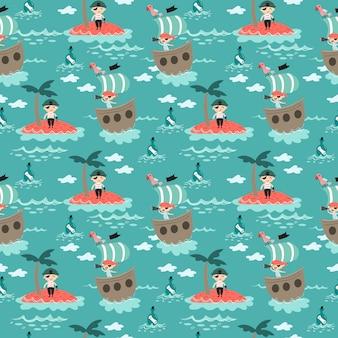 Netter pirat im nahtlosen muster des meeres